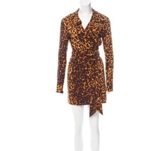 Reformation Collared Leopard Print Wrap Dress